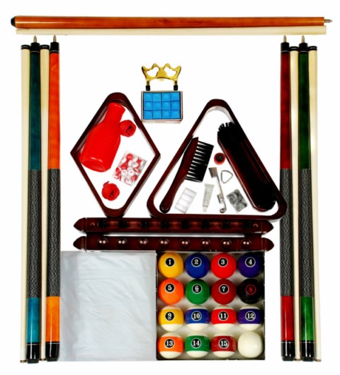 Billiard Pool Table Accessory Kit with Modern Style Balls Mahogany Finish